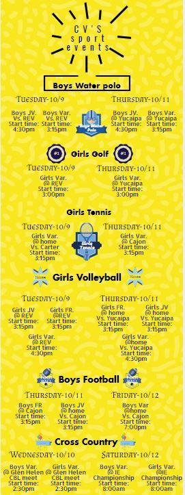 CV sports schedule 100818